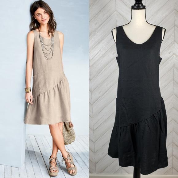 77b544f2cb7 GARNET HILL Black French Linen Trapeze Swing Dress